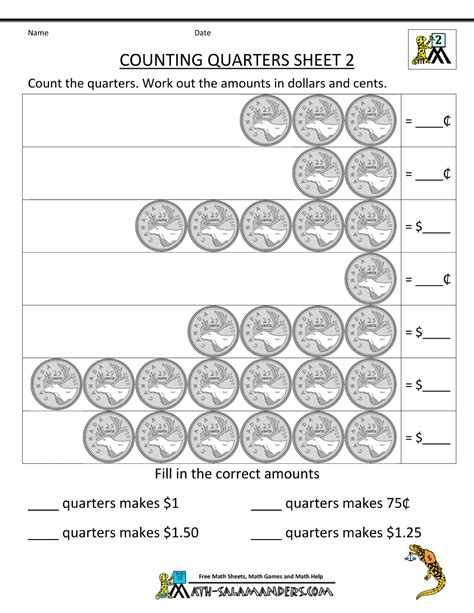 Coins Worksheets For Second Grade by Canadian Money Worksheets 2nd Grade Counting Quarters 2