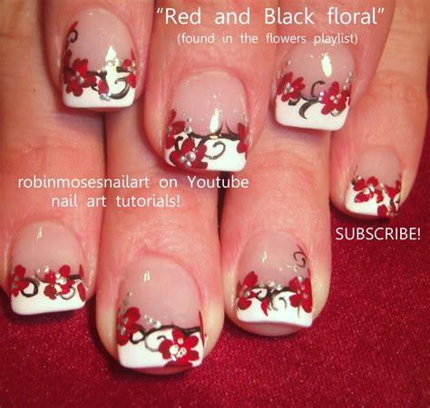 nail design flower youtube diy french mani with red flower nail art design youtube