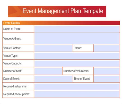 event management plan template sle event planning 6 in pdf word