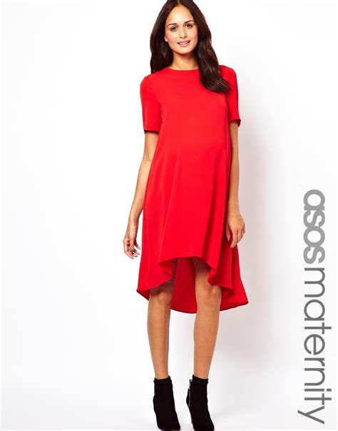 maternity swing dress asos maternity swing dress with dipped hem in red lyst