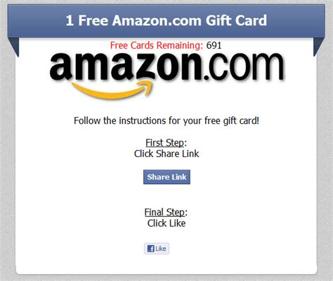 Reward Center Amazon Gift Card - one free amazon com gift card limited time only facebook scam