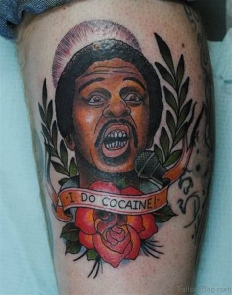collection of 25 black people and red rose tattoos on thigh