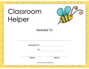 classroom certificates templates printable helper award certificate childrens awards
