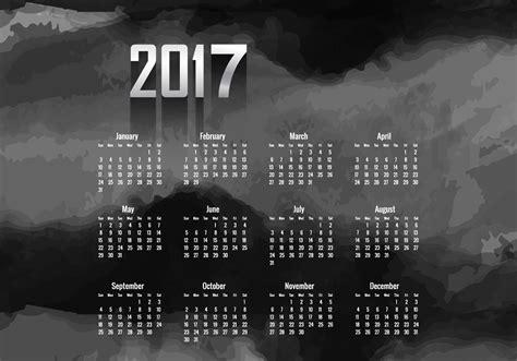 Calendario Colo Year 2017 Calendar With Black Color Free Vector