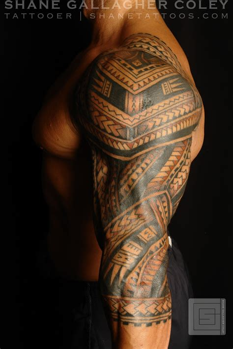 polynesian tattoo sleeve shane tattoos polynesian sleeve