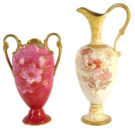 a doulton burslem ewer vase with loop handle gilded to