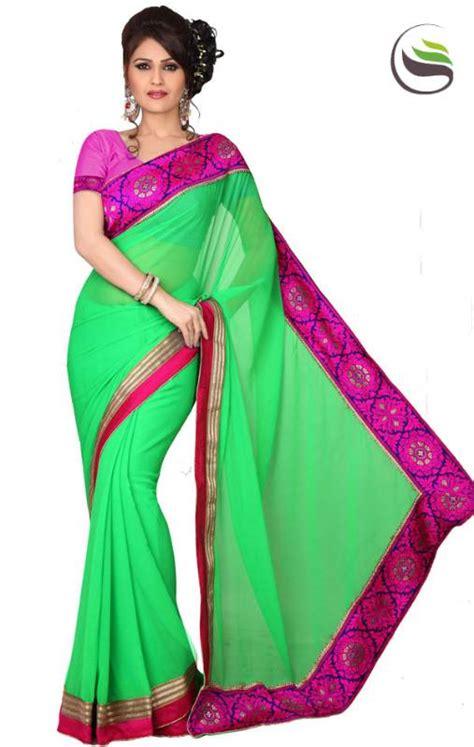 pista green color saree buy dark pista green color faux chiffon designer saree