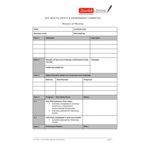 safety committee agenda template 5 best agenda templates