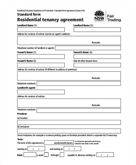 rent agreement form 9 free word pdf documents download