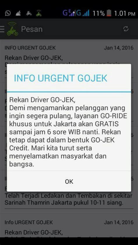 Layanan Pengiriman Gojek Khusus Wilayah Jakarta Tangerang ada pengeboman gojek dan grab gratis untuk evakuasi