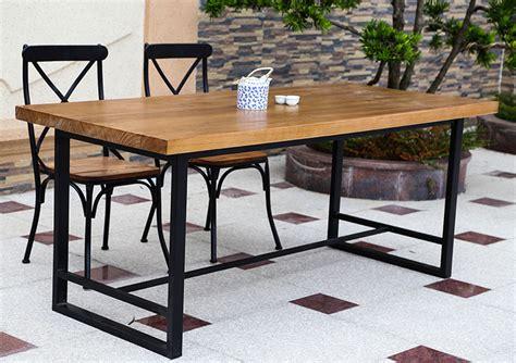 Meja Makan Besi Tempa eropa tinggi kelas kayu solid meja makan dan kursi meja