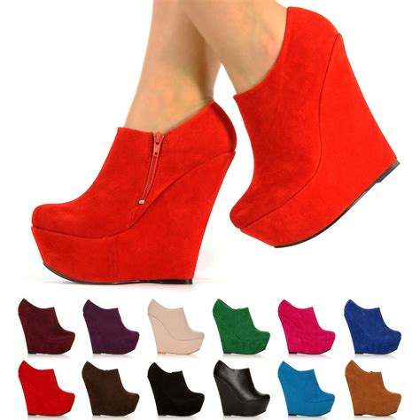 high heels 3 new platform high heel wedge ankle suede shoe boots shoes