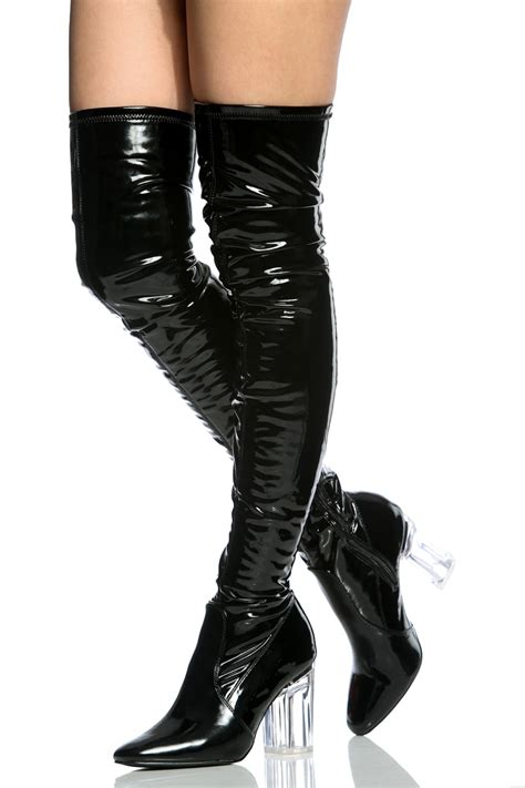 black faux patent leather chunky translucent thigh high
