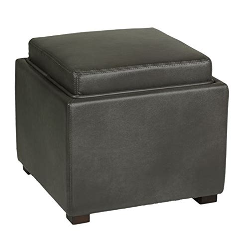 Leather Cube Ottoman With Tray Cortesi Home Mavi Grey Top Tray Storage Cube Ottoman In Bonded Leather New Fre Ebay