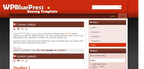 bluepress free wordpress template download anurag