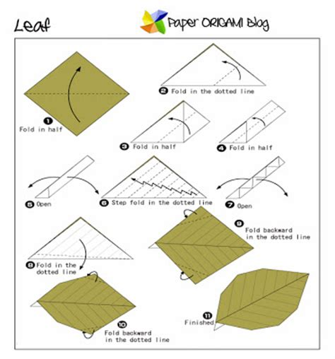 Leaves Origami - easy origami leaf paper origami guide