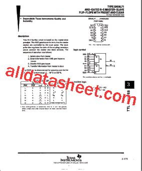 data set transistor a940 74l71 datasheet pdf instruments