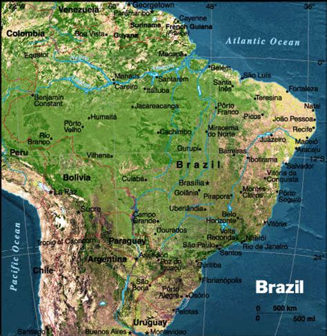 satellite map of brazil geography brazil and climate change