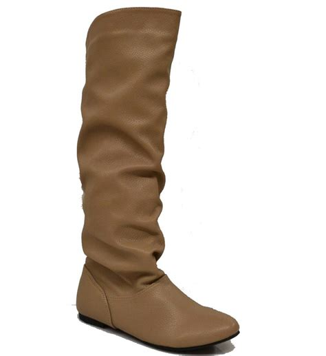 womens knee high slouch boots flats lining slip on