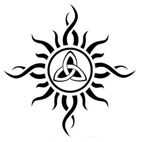 skin deep tribal tattoo trinty triquetra sun idea skin