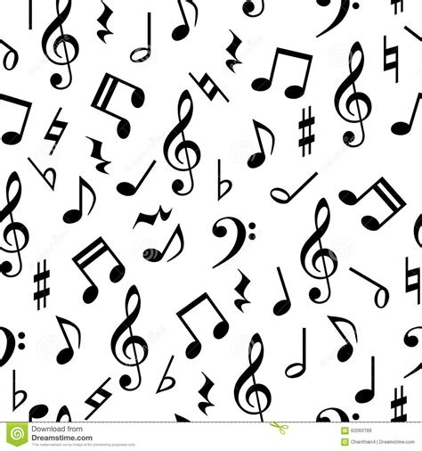 pattern of notes music notes seamless pattern stock illustration image