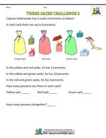 Printable christmas math activities three sacks challenge 2