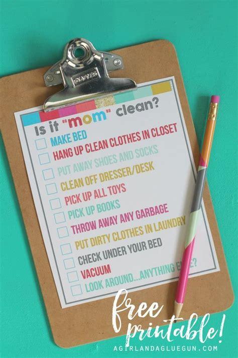 is it quot mom quot clean bedroom checklist printables room