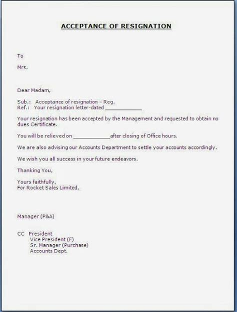 Offer Letter Vp Of Sales Resignation Acceptance Letter