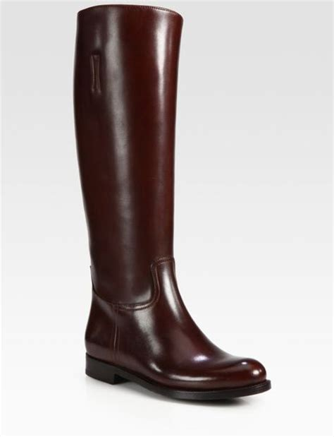 prada leather boots in brown lyst