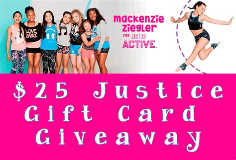 Justice Gift Cards - the new mackenzie ziegler for justice active available now 25 justice gift card