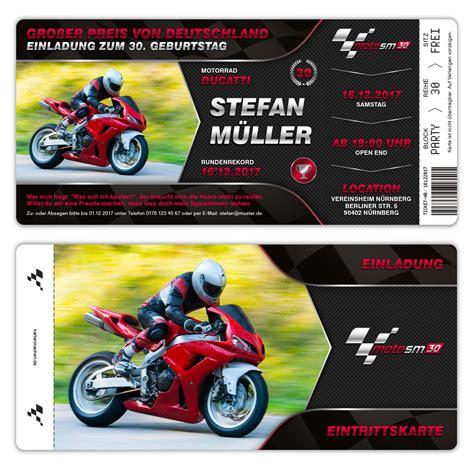 E Motorrad Rennen by Einladungskarten Geburtstag Motorrad Rennen Ticket Eigenes