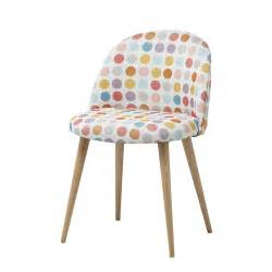 chaise vintage en tissu pois multicolores mauricette