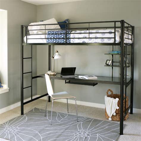 Bunk Bed With Workstation Walker Edison Metal Loft Bed With Computer Workstation Black Btozbl
