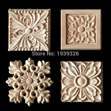 pcs flower wood carving natural wood appliques