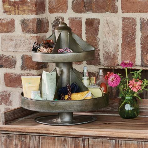 farmhouse d 233 cor 2 tier large tin lazy susan organizer