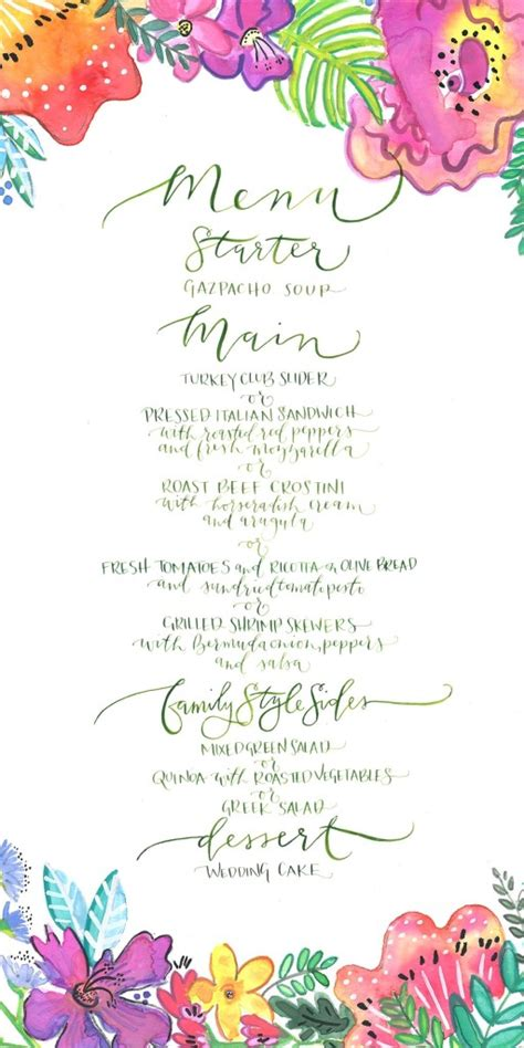 Jill Vandall 187 Tropical Wedding Menu Tropical Menu Template Free