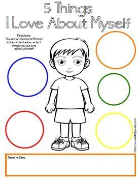 5 things i about myself free printables boy