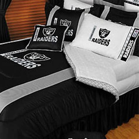 Raiders Bed Set 4pc New Nfl Oakland Raiders Comforter Sheets Football