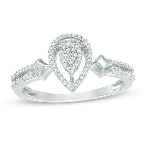 1 6 ct t w pear shaped cluster promise ring in