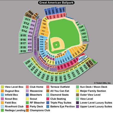cincinnati reds seating chart with seat numbers great american ballpark seating chart rows vipseats