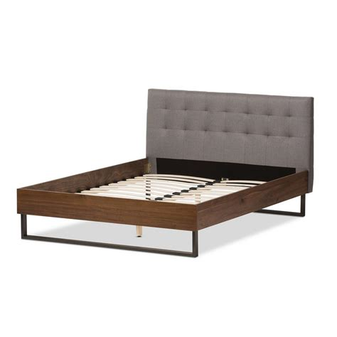 Fabric Platform Bed Baxton Studio Mitchell Gray Fabric Upholstered Platform Bed 28862 7352 Hd The Home Depot