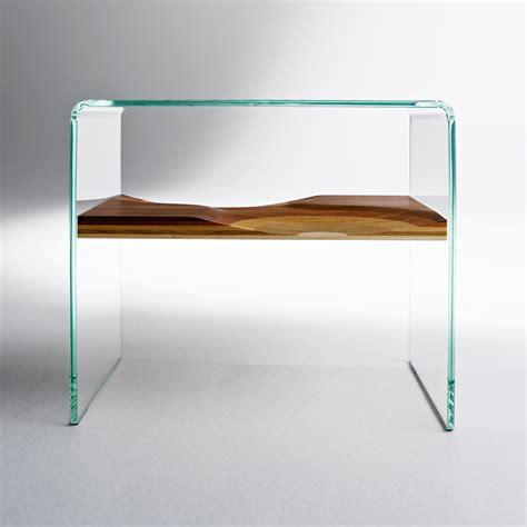 table de nuit en verre table de chevet bifronte transparent horm