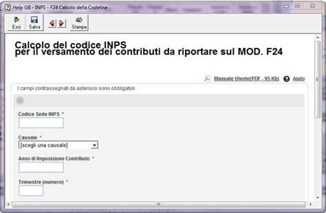 codice sede inps f24 funzione della gestione soggetto ivs