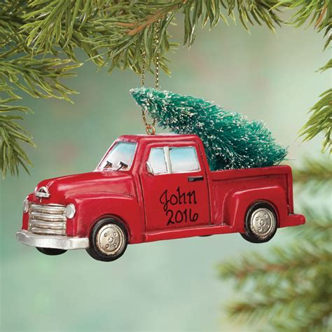 tree personalized ornaments personalized truck with tree ornament kimball