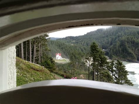 heceta head lighthouse bed and breakfast view of b b from beach below picture of heceta head