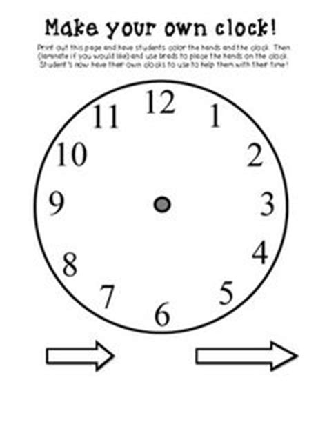 make your own clock template telling time on telling time activities