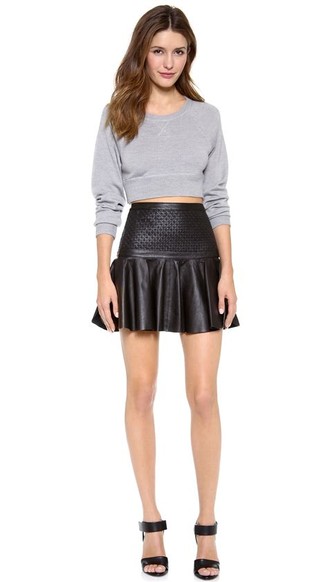 robert rodriguez weave leather skirt in black lyst