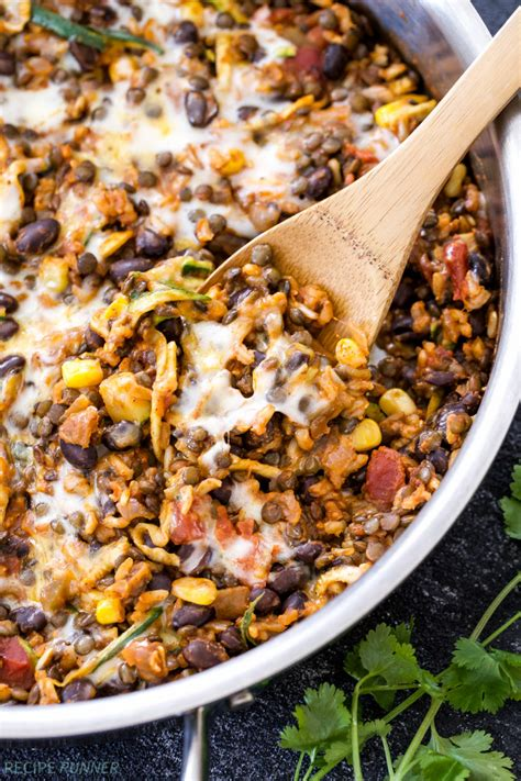 vegetarian bean and rice recipe one pot cheesy mexican lentils black beans and rice