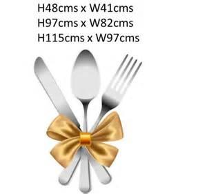 Wall Murals Kitchen silver cutlery knife fork spoon gold ribbon legends wall art