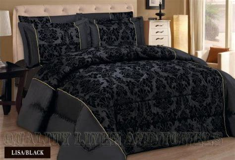 black damask comforter lisa black king quilted 3 pieces bedspread modern flock